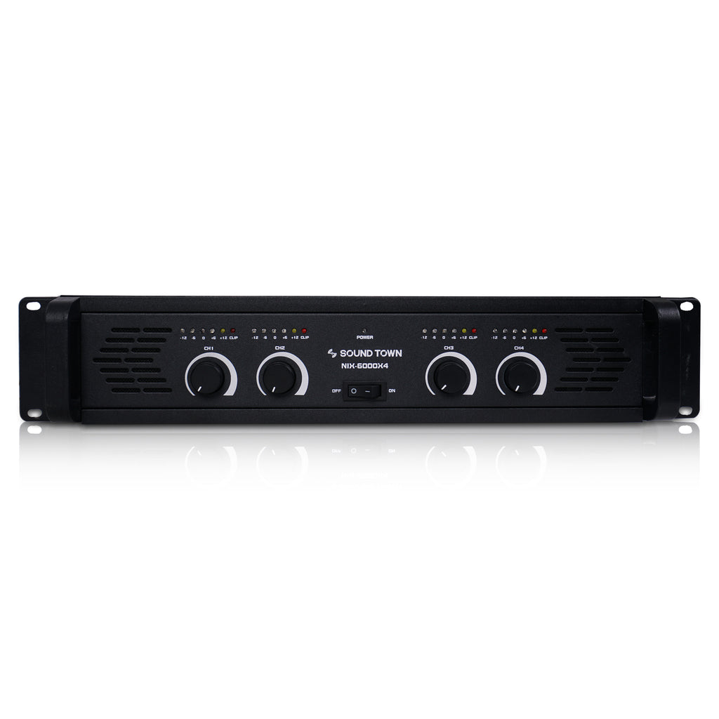 CARME-U108BNIX 4-Channel 4 X 750W at 4-ohm, 6000W Peak Output Professional Power Amplifier - Front Panel