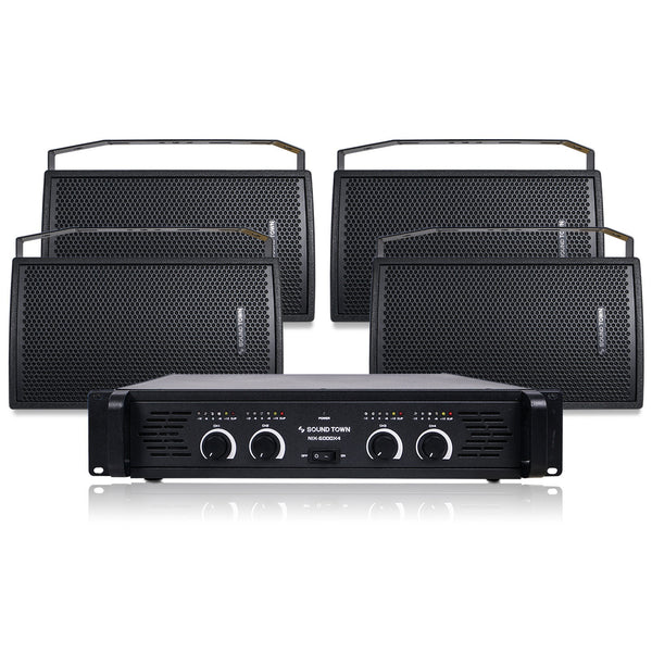 "Sound Town CARME-U108BNIX Installation Speaker System with 4 x 8"" Black Loudspeakers and 1 x 4-Channel 6000W Peak Output Professional Power Amplifier for Restaurants, Lounges, Bars, Schools, Churches"