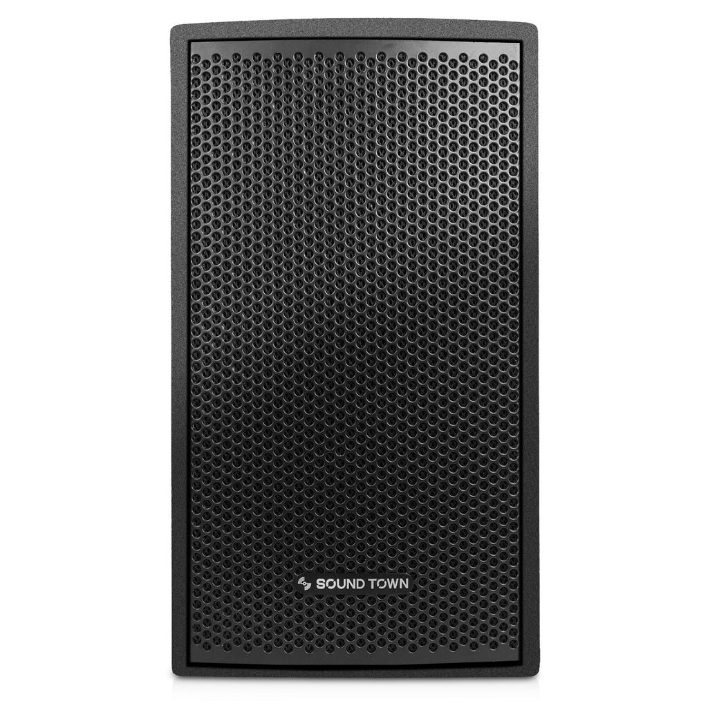 "Sound Town CARME-U108B CARME Series 8"" Passive 350W 2-Way Professional Wall-Mount Stage Monitor Loudspeaker, Black with Compression Driver and U Bracket for Commercial Audio Installation, Live Sound, Karaoke, Bar, Church - Front Panel"