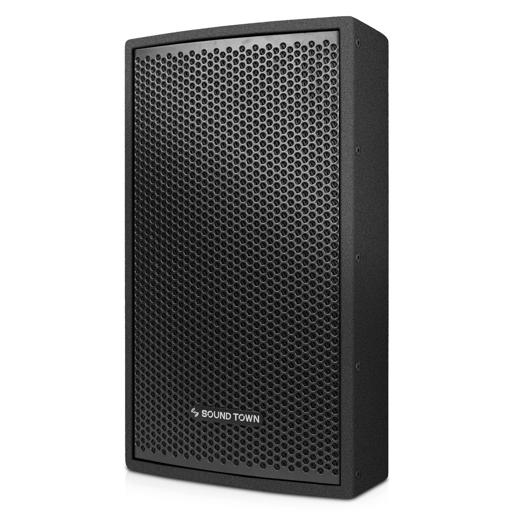 "Sound Town CARME-U108B CARME Series 8"" Passive 350W 2-Way Professional Wall-Mount Stage Monitor Loudspeaker, Black with Compression Driver and U Bracket for Commercial Audio Installation, Live Sound, Karaoke, Bar, Church - Left Panel"