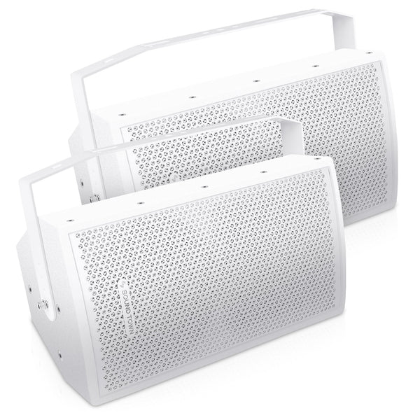 "Sound Town CARME-U108W-PAIR Pair of CARME Series 8"" Passive 350W 2-Way Professional Wall-Mount Stage Monitor Loudspeaker, White with Compression Driver and U Bracket for Commercial Audio Installation, Live Sound, Karaoke, Bar, Church"