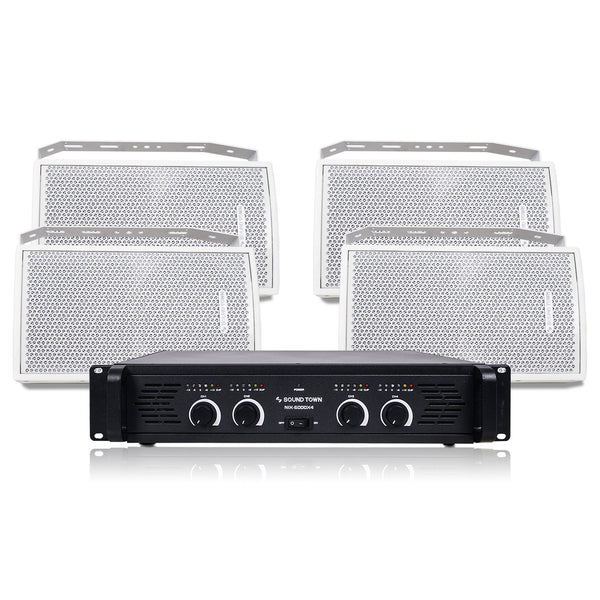 "Sound Town CARME-U108WNIX Installation Speaker System with 4 x 8"" White Loudspeakers and 1 x 4-Channel 6000W Peak Output Professional Power Amplifier for Restaurants, Lounges, Bars, Schools, Churches"