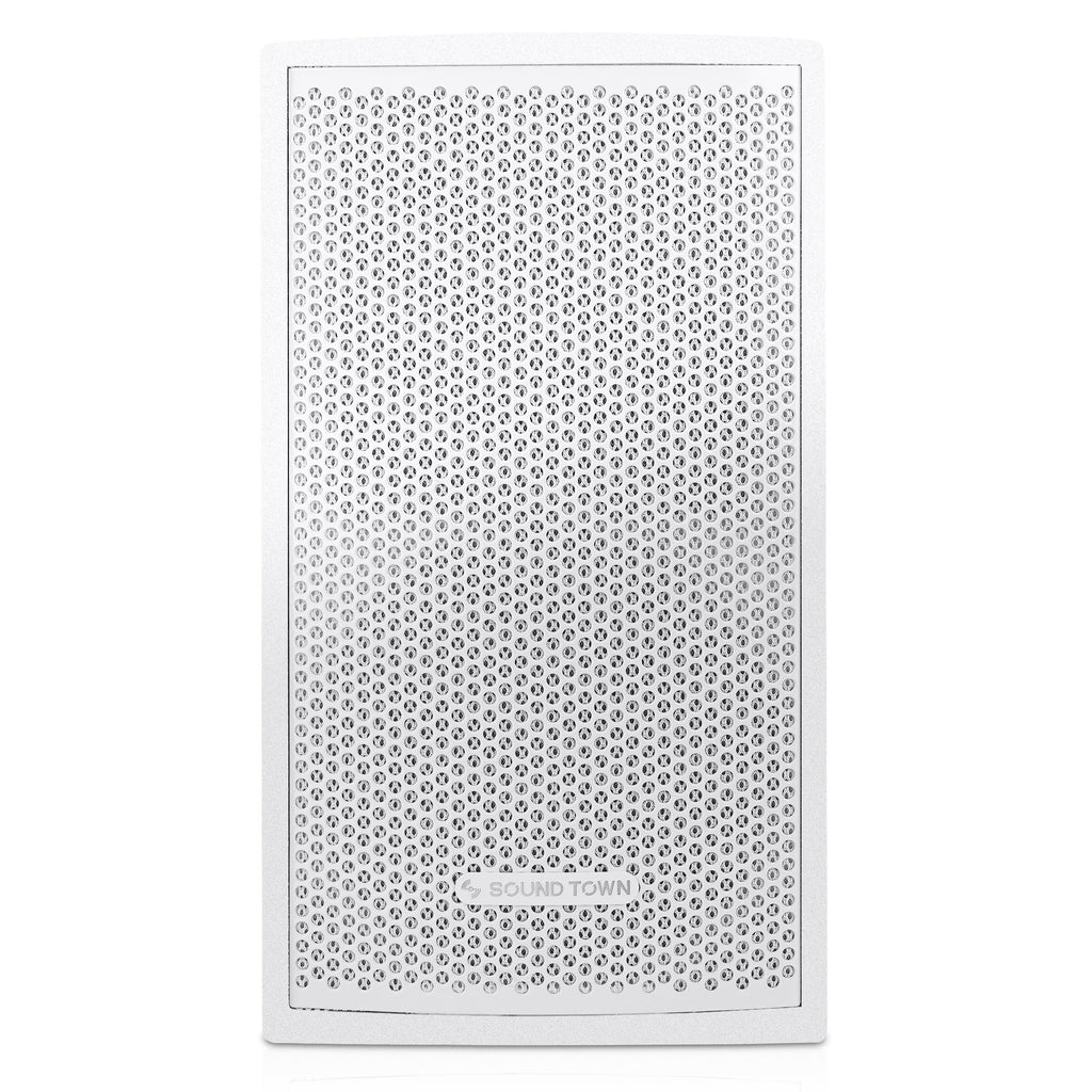 "Sound Town CARME-U108W CARME Series 8"" Passive 350W 2-Way Professional Wall-Mount Stage Monitor Loudspeaker, White with Compression Driver and U Bracket for Commercial Audio Installation, Live Sound, Karaoke, Bar, Church - Front Panel"