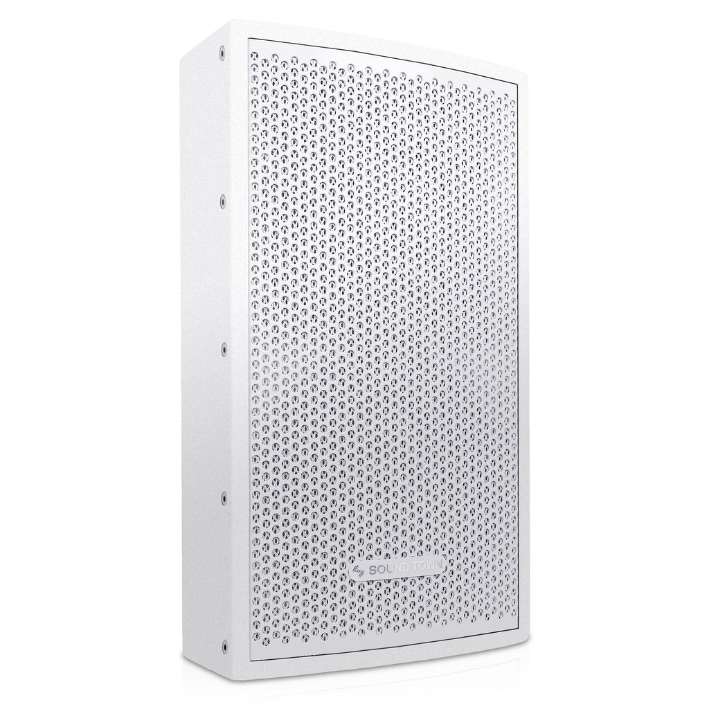 "Sound Town CARME-U108W CARME Series 8"" Passive 350W 2-Way Professional Wall-Mount Stage Monitor Loudspeaker, White with Compression Driver and U Bracket for Commercial Audio Installation, Live Sound, Karaoke, Bar, Church - Right Panel"