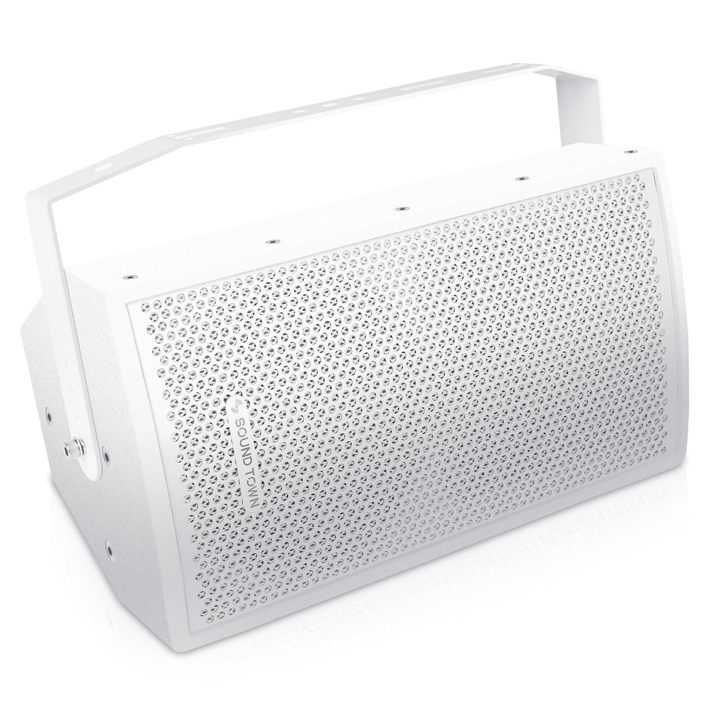 "Sound Town CARME-U108W CARME Series 8"" Passive 350W 2-Way Professional Wall-Mount Stage Monitor Loudspeaker, White with Compression Driver and U Bracket for Commercial Audio Installation, Live Sound, Karaoke, Bar, Church - surface mount speakers"