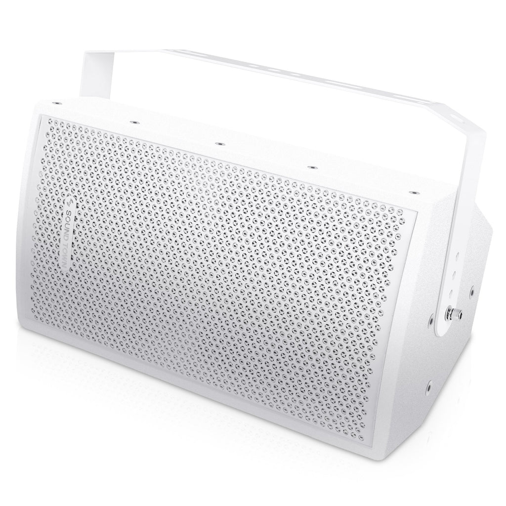 "Sound Town CARME-U108W CARME Series 8"" Passive 350W 2-Way Professional Wall-Mount Stage Monitor Loudspeaker, White with Compression Driver and U Bracket for Commercial Audio Installation, Live Sound, Karaoke, Bar, Church - Commercial Speakers"