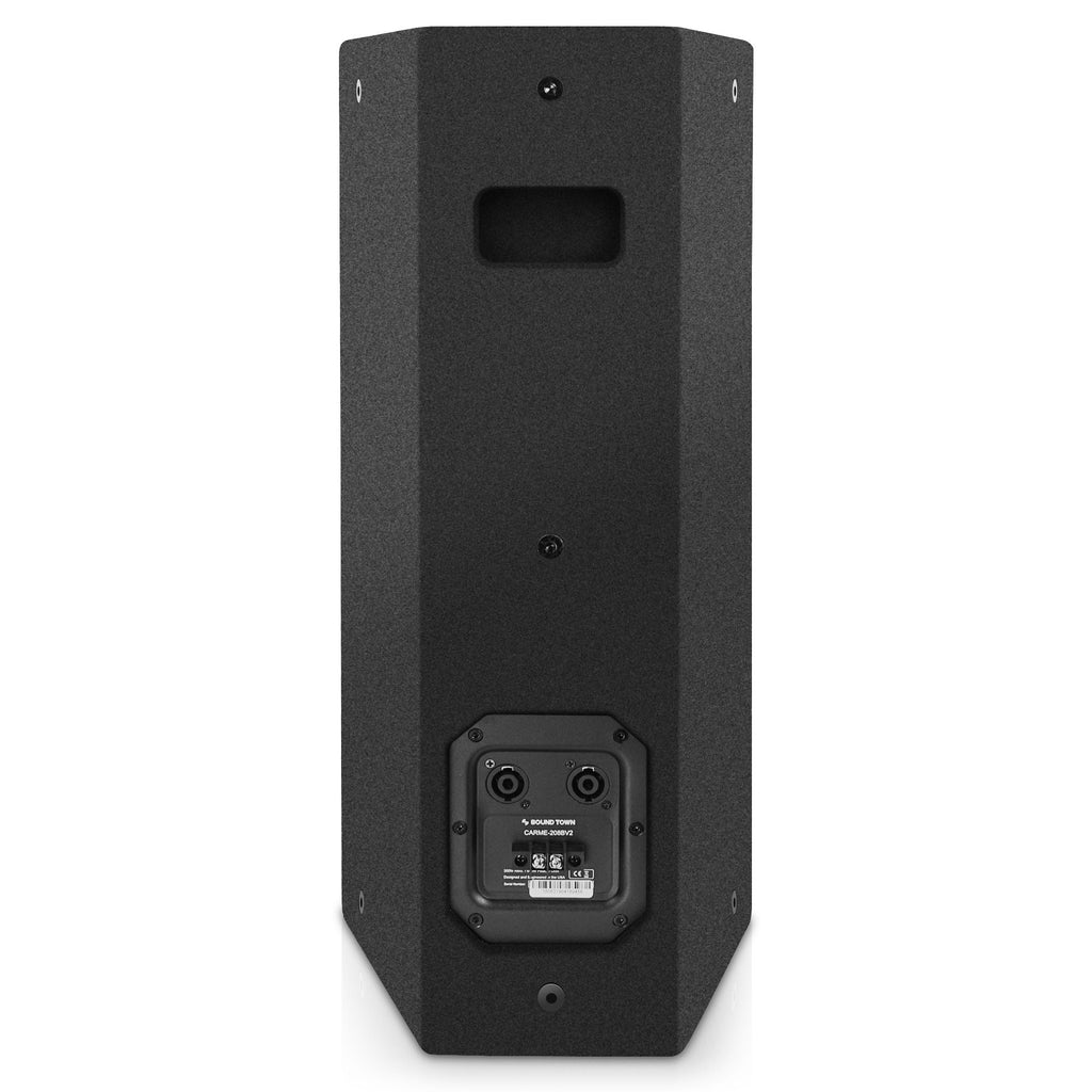"SOUND TOWN CARME-U208B CARME Series Dual 8"" Passive 2-Way Professional Wall-Mount Stage Monitor Loudspeaker, Black with Compression Driver and U Bracket for Commercial Audio Installation, Live Sound, Karaoke, Bar, Church - Back Panel Floorstanding"