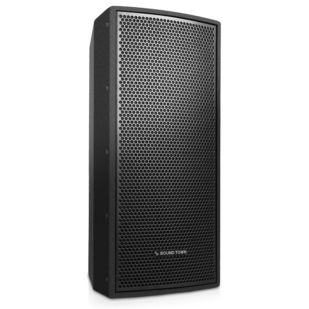 "SOUND TOWN CARME-U208B CARME Series Dual 8"" Passive 2-Way Professional Wall-Mount Stage Monitor Loudspeaker, Black with Compression Driver and U Bracket for Commercial Audio Installation, Live Sound, Karaoke, Bar, Church - Right Floorstanding"