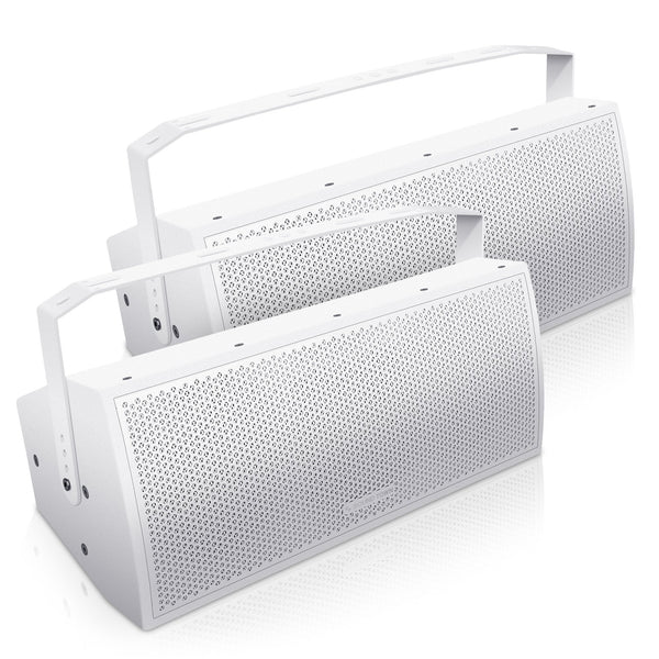 "Sound Town CARME-U208W-PAIR Pair of CARME Series Dual 8"" Passive 2-Way Professional Wall-Mount Stage Monitor Loudspeaker, White with Compression Driver and U Bracket for Commercial Audio Installation, Live Sound, Karaoke, Bar, Church"