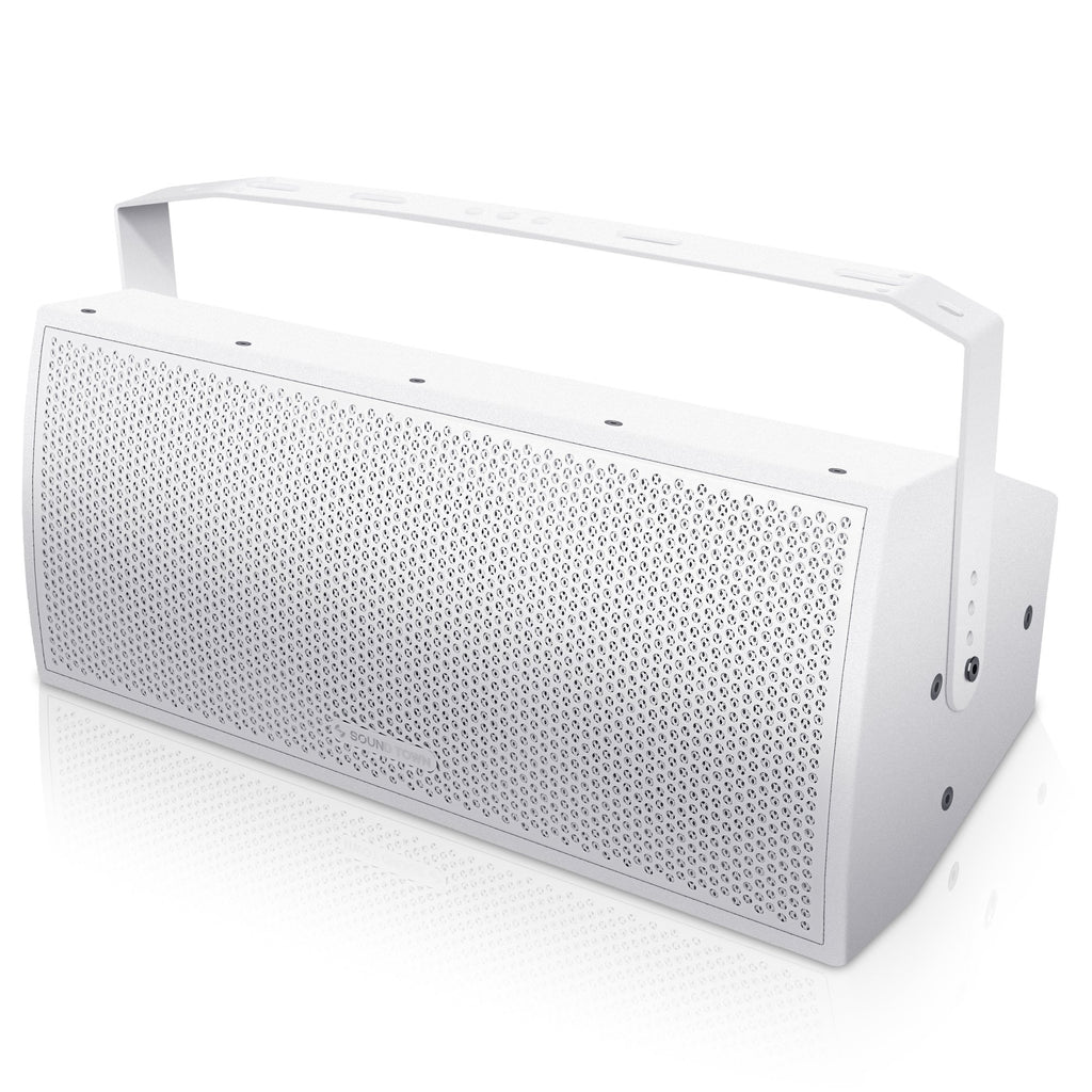 "Sound Town CARME-U208W CARME Series Dual 8"" Passive 2-Way Professional Wall-Mount Stage Monitor Loudspeaker, White with Compression Driver and U Bracket for Commercial Audio Installation, Live Sound, Karaoke, Bar, Church - Left Panel"