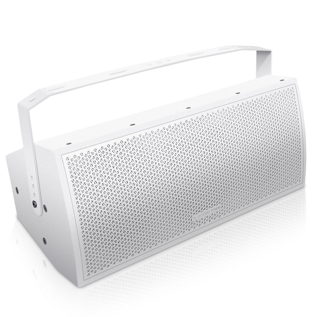 "Sound Town CARME-U208W CARME Series Dual 8"" Passive 2-Way Professional Wall-Mount Stage Monitor Loudspeaker, White with Compression Driver and U Bracket for Commercial Audio Installation, Live Sound, Karaoke, Bar, Church - Right Panel"