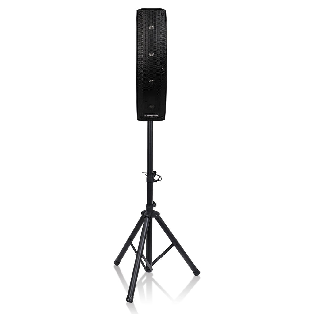 "Sound Town CARPO-V412DS CARPO Series Column Speaker and Subwoofer PA System with Two Passive Column Speakers, One 12"" Powered Subwoofer w Folded Horn Design with Speaker Stands"