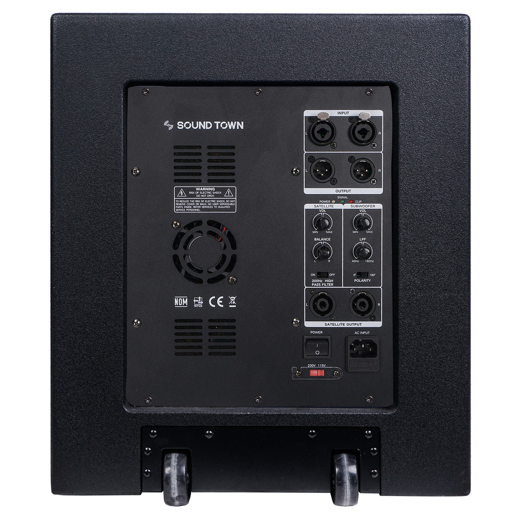 "Sound Town CARPO-V415SPW 1600W 15"" Powered Subwoofer with 2 Speaker Outputs, Plywood Enclosure and 2 Wheels, Black - Back Panel Input and Outputs"