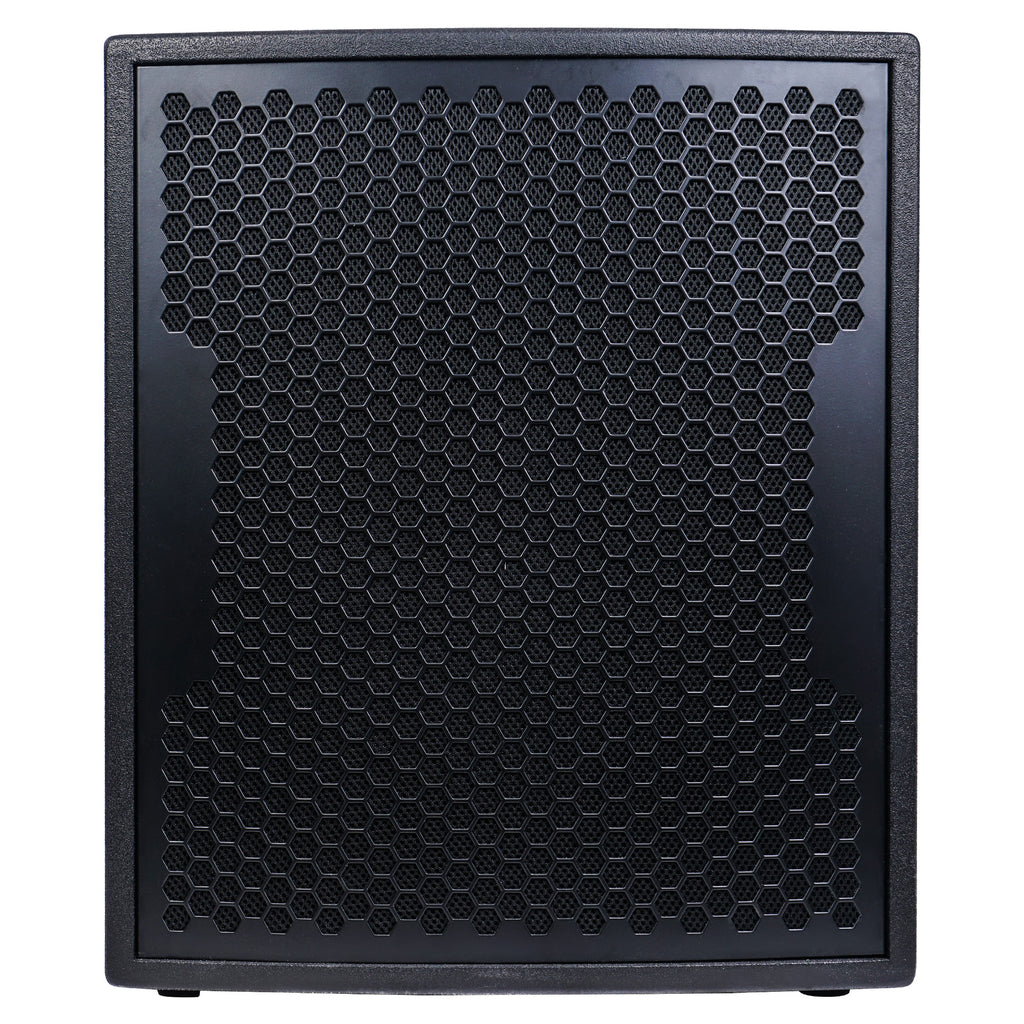 "Sound Town CARPO-V415SPW 1600W 15"" Powered Subwoofer with 2 Speaker Outputs, Plywood Enclosure and 2 Wheels, Black - Front Panel"