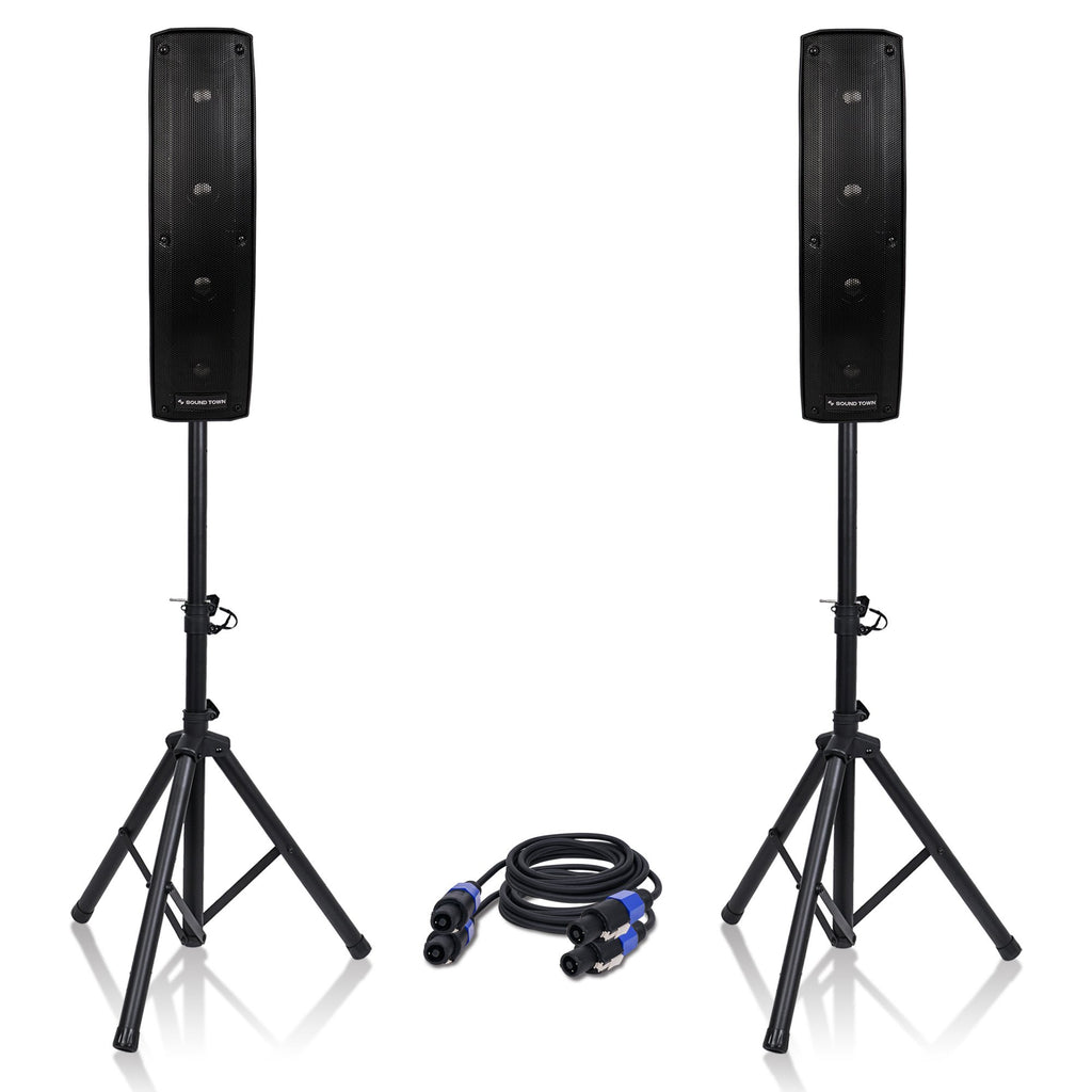"Sound Town CARPO-V415SPW CARPO Series 2-Pack 500W Passive Column Speaker Mini Line Array System w/ Two 4 X 4"" Column Speakers, Speaker Stands and 9-Feet Speakon to Speakon Cables"