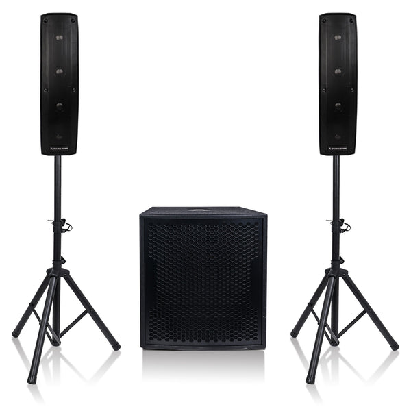 Sound Town CARPO-V415SPW CARPO Series Column Speaker & Subwoofer Mini Line Array System w/ Two 500W Passive Column Speakers, One 15 inch 1600W Powered Subwoofer, Two Speaker Stands & 9-Feet Speakon to Speakon Cables