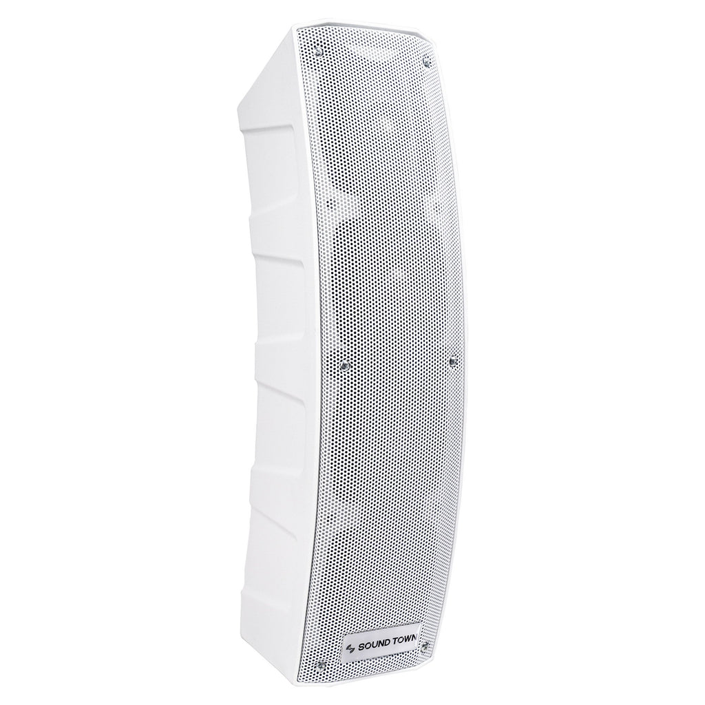 "Sound Town CARPO-V4W12 CARPO Series 500W Passive Mini Line Array Column Speaker System with Two 4 X 4"" Column Speakers, Stands and 9-Feet Speakon Cables, White - Right Panel"