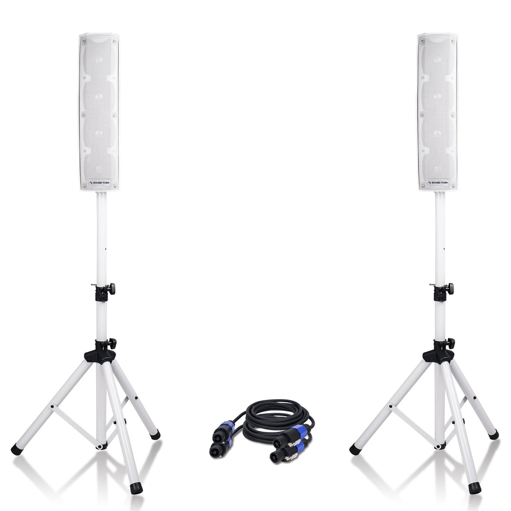 "Sound Town CARPO-V4W12 CARPO Series 500W Passive Mini Line Array Column Speaker System with Two 4 X 4"" Column Speakers, Stands and 9-Feet Speakon Cables, White"