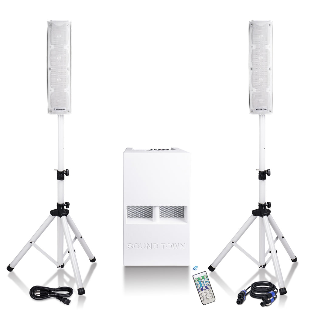 "Sound Town CARPO-V4W12 CARPO Series Two Passive Mini Line Array Column Speakers and One 12"" Powered Folded Horn Design Subwoofer PA System with Speaker Stands and Cables, White"