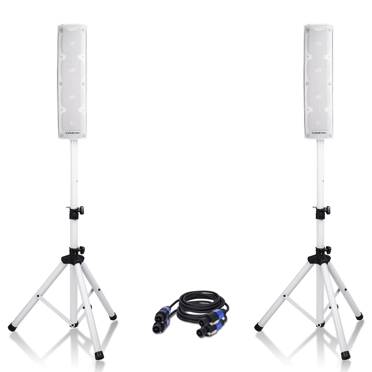 "Sound Town CARPO-V4W CARPO Series 500W Passive Mini Line Array Column Speaker System with Two 4 X 4"" Column Speakers, Stands and 9-Feet Speakon Cables, White"