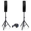 Sound Town CARPO-V4 CARPO Series 500W Passive Column Speakers Mini Line Array System w/ Two 4 X 4 inch Column Speakers, Speaker Stands and 9 Feet Speakon to Speakon Cables