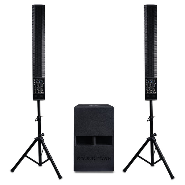 "Sound Town CARPO-V5-112 CARPO Series Powered Column Speaker PA System with Two 6 x 5"" Column Speakers, One 12"" Subwoofer, Two Speaker Stands"