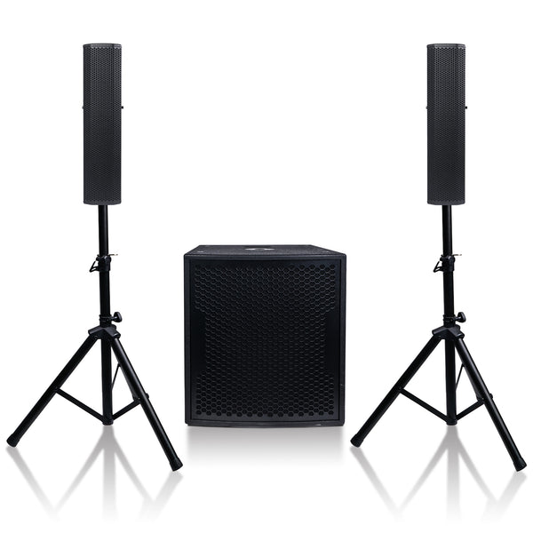 Sound Town CARPO-V5B15 Subwoofer and Column Speaker Line Array System, with Two 500W Passive Column Speakers and One 15 inch 1600W Powered Subwoofer