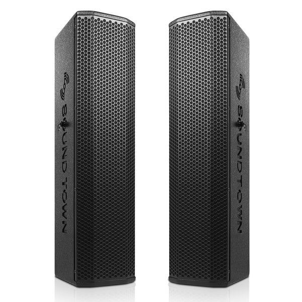 "Sound Town CARPO-V5B Pair of Passive Wall-Mount Column Mini Line Array Speakers with 4 x 5"" Woofers, Black for Live Event, Church, Conference, Lounge, Installation - Main"