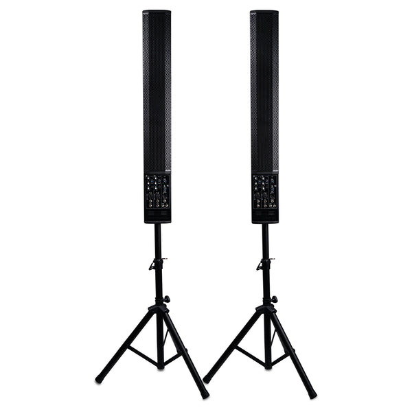 Sound Town CARPO-V5SD CARPO Series Pair of Powered 6 x 5 Inches Column Speakers Line Array System with Speaker Stands for Live Music, House of Worship, Meeting Rooms, Restaurants
