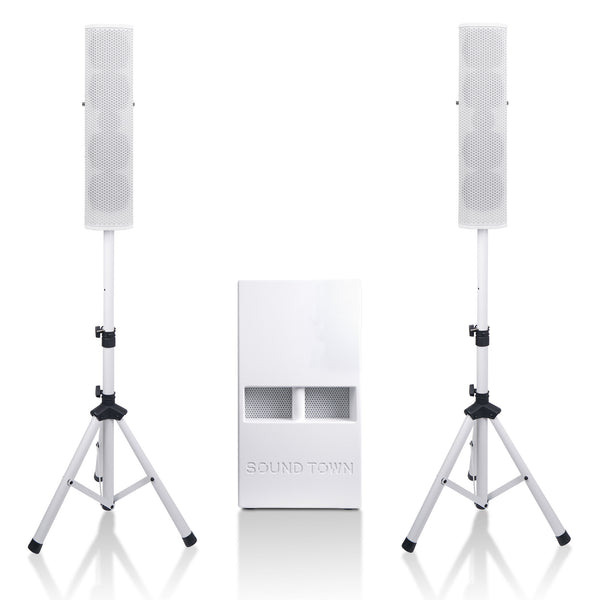 "Sound Town CARPO-V5W12 Subwoofer and Column Speaker Line Array System, with Two 500W Passive Column Speakers and One 12"" 1400W Powered Subwoofer, White"