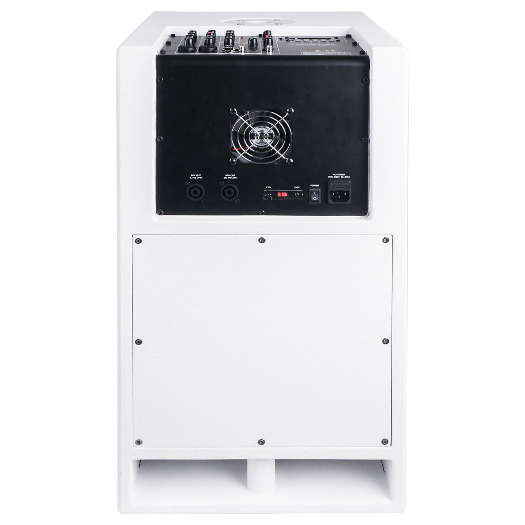 "Sound Town CARPO-V5W12 1400 Watts 12"" Powered PA DJ Subwoofer with 2 Speaker Outputs, Folded Horn Design, White for Live Sound, Stage, Church, Lounge, Bar - Back Panel"