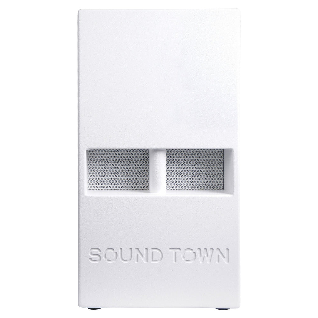 "Sound Town CARPO-V5W12 1400 Watts 12"" Powered PA DJ Subwoofer with 2 Speaker Outputs, Folded Horn Design, White for Live Sound, Stage, Church, Lounge, Bar - Front Panel"