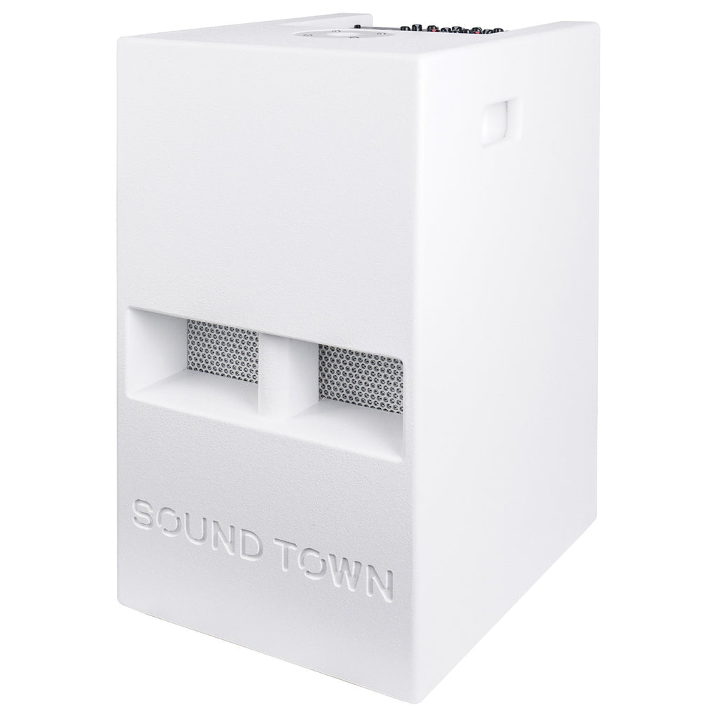"Sound Town CARPO-V5W12 1400 Watts 12"" Powered PA DJ Subwoofer with 2 Speaker Outputs, Folded Horn Design, White for Live Sound, Stage, Church, Lounge, Bar - Left Panel"