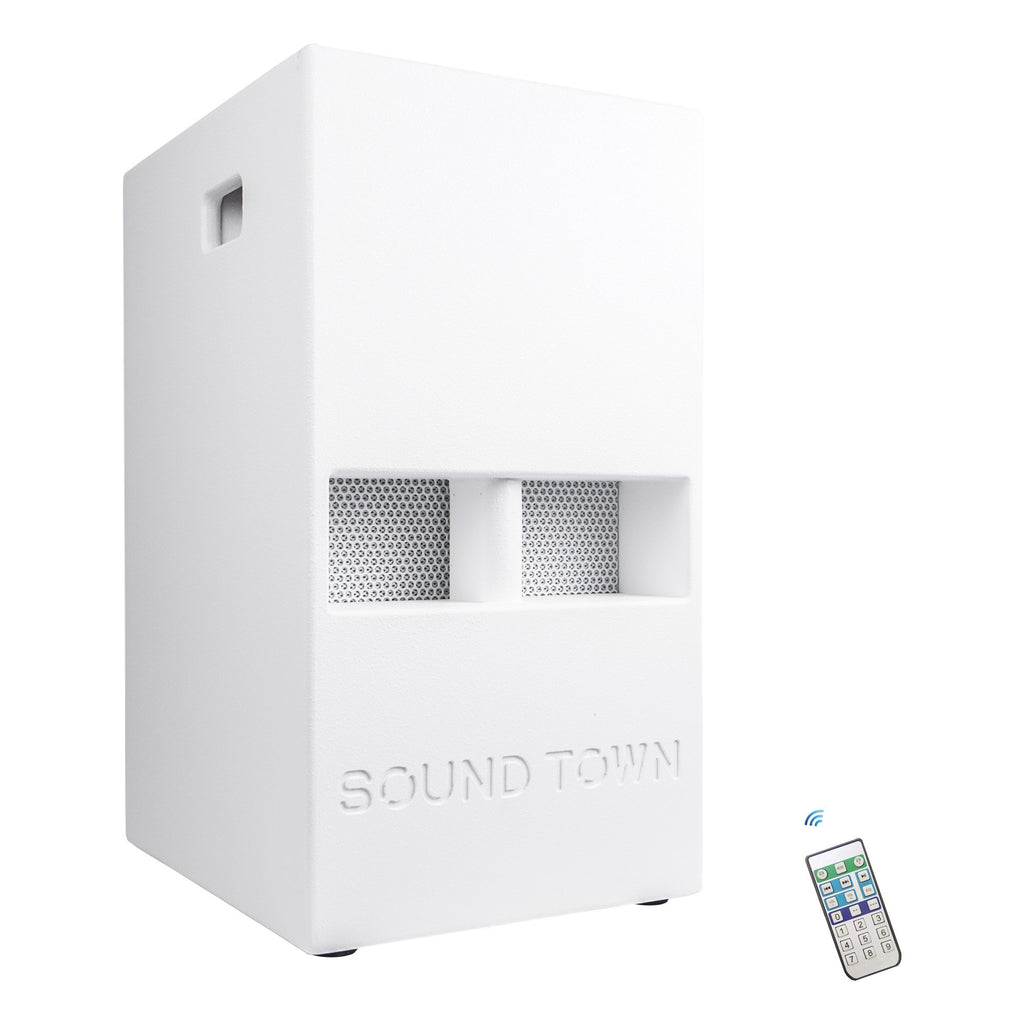 "Sound Town CARPO-V5W12 1400 Watts 12"" Powered PA DJ Subwoofer with 2 Speaker Outputs, Folded Horn Design, White for Live Sound, Stage, Church, Lounge, Bar - Right Panel with Bluetooth and Remote"