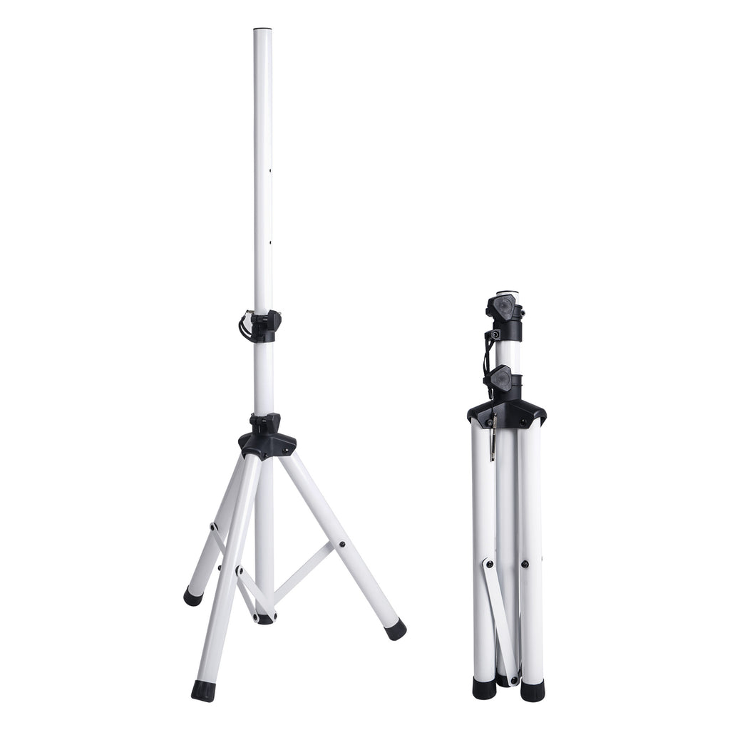 Sound Town CARPO-V5W12 2-Pack Universal Tripod Speaker Stands with Adjustable Height, 35mm Compatible Insert, Locking Knob and Shaft Pin, White