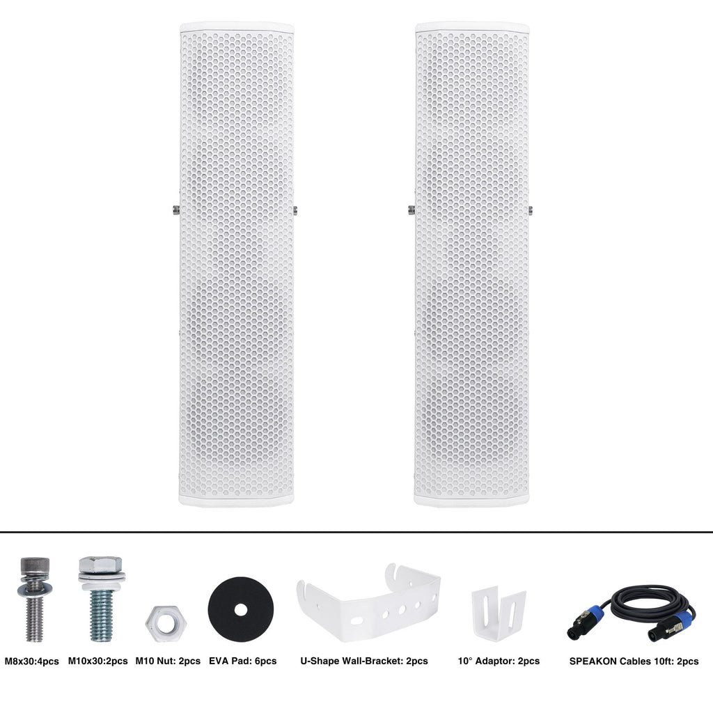 "Sound Town CARPO-V5W12 Passive Wall-Mount Column Mini Line Array Speakers with 4 x 5"" Woofers, White for Live Event, Church, Conference, Lounge, Commercial Audio Installation - Package Contents & Included Accessories"