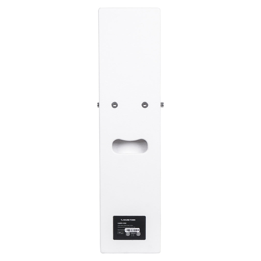 "Sound Town CARPO-V5W12 Passive Wall-Mount Column Mini Line Array Speakers with 4 x 5"" Woofers, White for Live Event, Church, Conference, Lounge, Commercial Audio Installation - Side Panel"