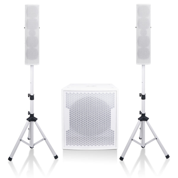"Sound Town CARPO-V5W15 Subwoofer and Column Line Array System, with Two 4 x 5"" 500W Passive Column Speakers and One 15"" 1600W Powered Subwoofer, White"