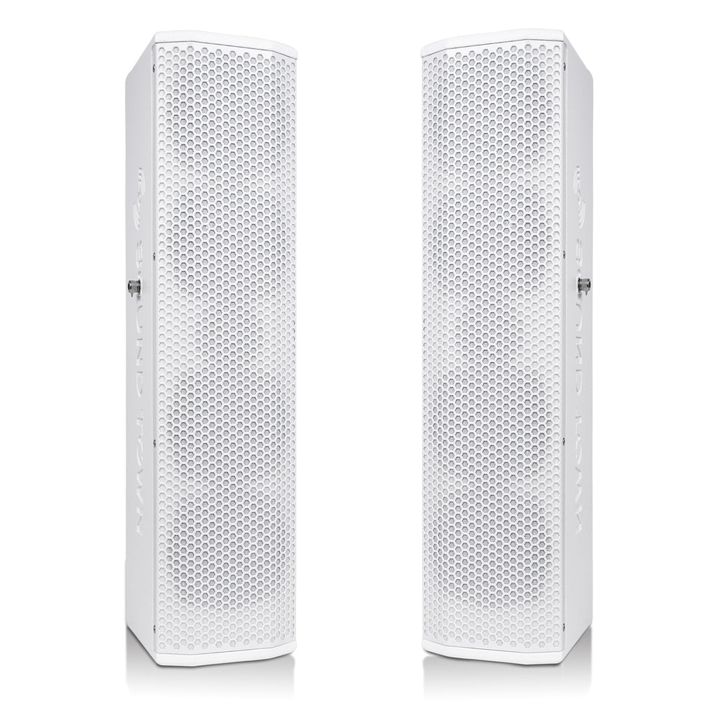 "Sound Town CARPO-V5W15 Pair of Passive Wall-Mount Column Mini Line Array Speakers with 4 x 5"" Woofers, White for Live Event, Church, Conference, Lounge, Commercial Audio Installation"