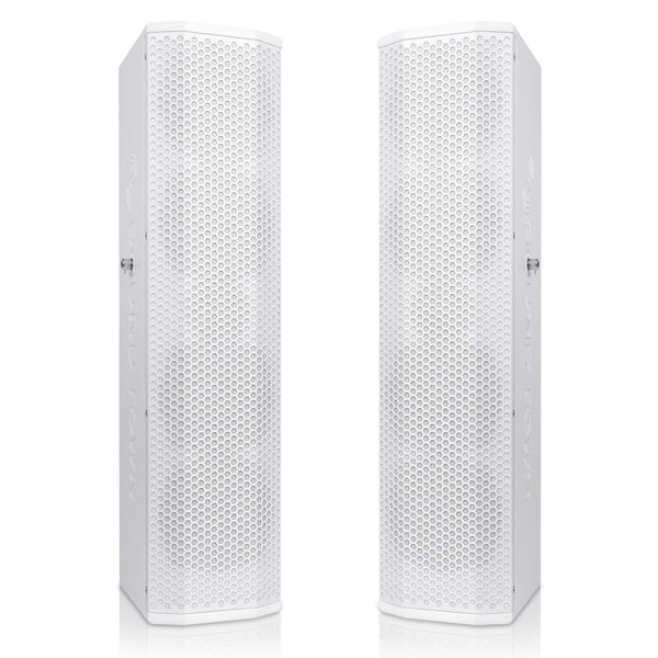"Sound Town CARPO-V5W Pair of Passive Wall-Mount Column Mini Line Array Speakers with 4 x 5"" Woofers, White for Live Event, Church, Conference, Lounge, Commercial Audio Installation"