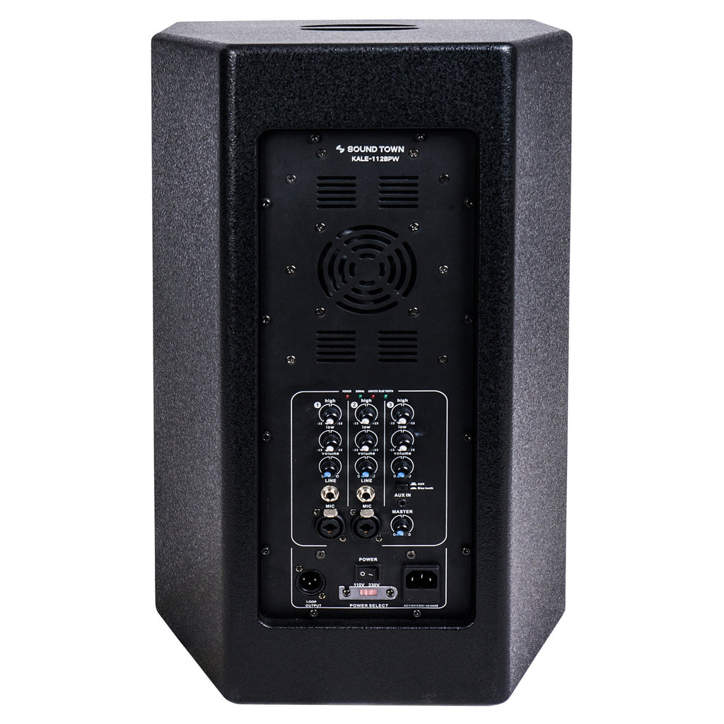 "Sound Town KALE-112BCE 12"" 700W Powered DJ PA Speaker w/ Bluetooth, Titanium Compression Driver, 3-Channel Mixer, Black - Back Panel"