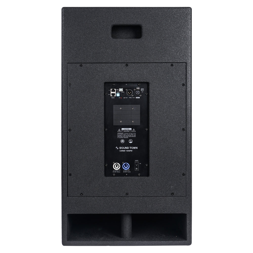 "Sound Town KALE-112BCE 15"" 1000W Powered PA/DJ Subwoofer with Folded Horn Design, Class-D Amplifier and Built-in DSP, Black for Live Sound, Stage, Lounge, Club - Back Panel"