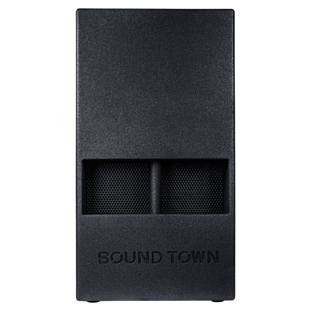 "Sound Town KALE-112BCE 15"" 1000W Powered PA/DJ Subwoofer with Folded Horn Design, Class-D Amplifier and Built-in DSP, Black for Live Sound, Stage, Lounge, Club - Front Panel"