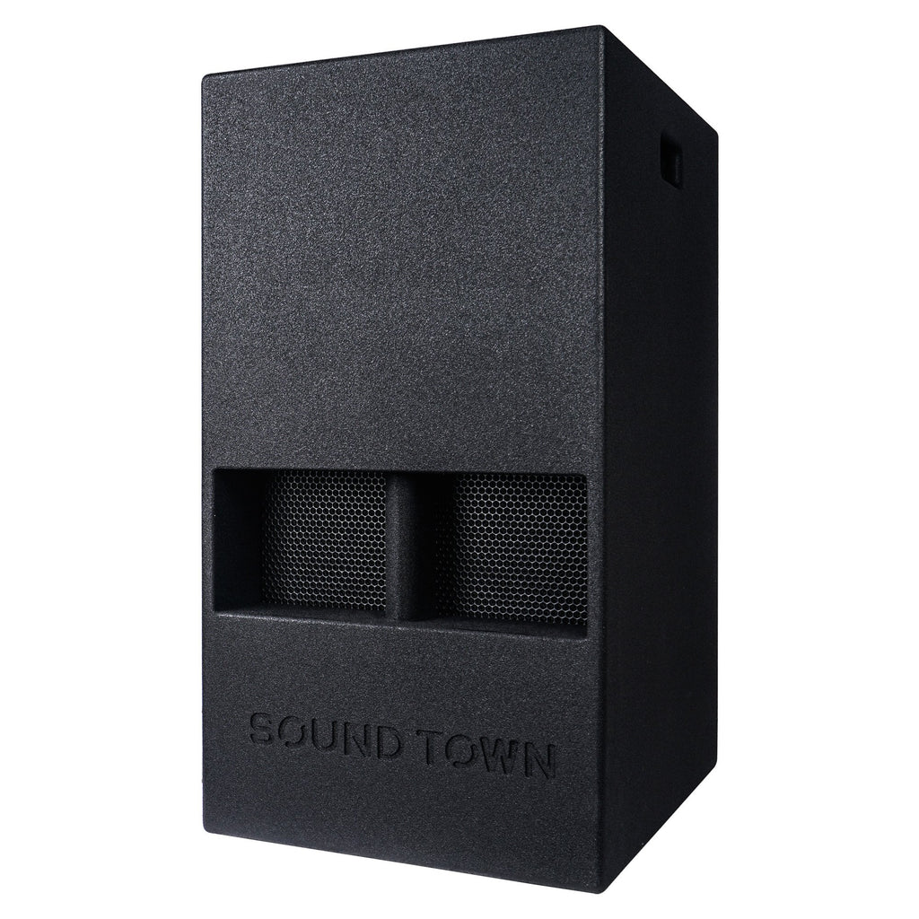 "Sound Town KALE-112BCE 15"" 1000W Powered PA/DJ Subwoofer with Folded Horn Design, Class-D Amplifier and Built-in DSP, Black for Live Sound, Stage, Lounge, Club - Left Panel"