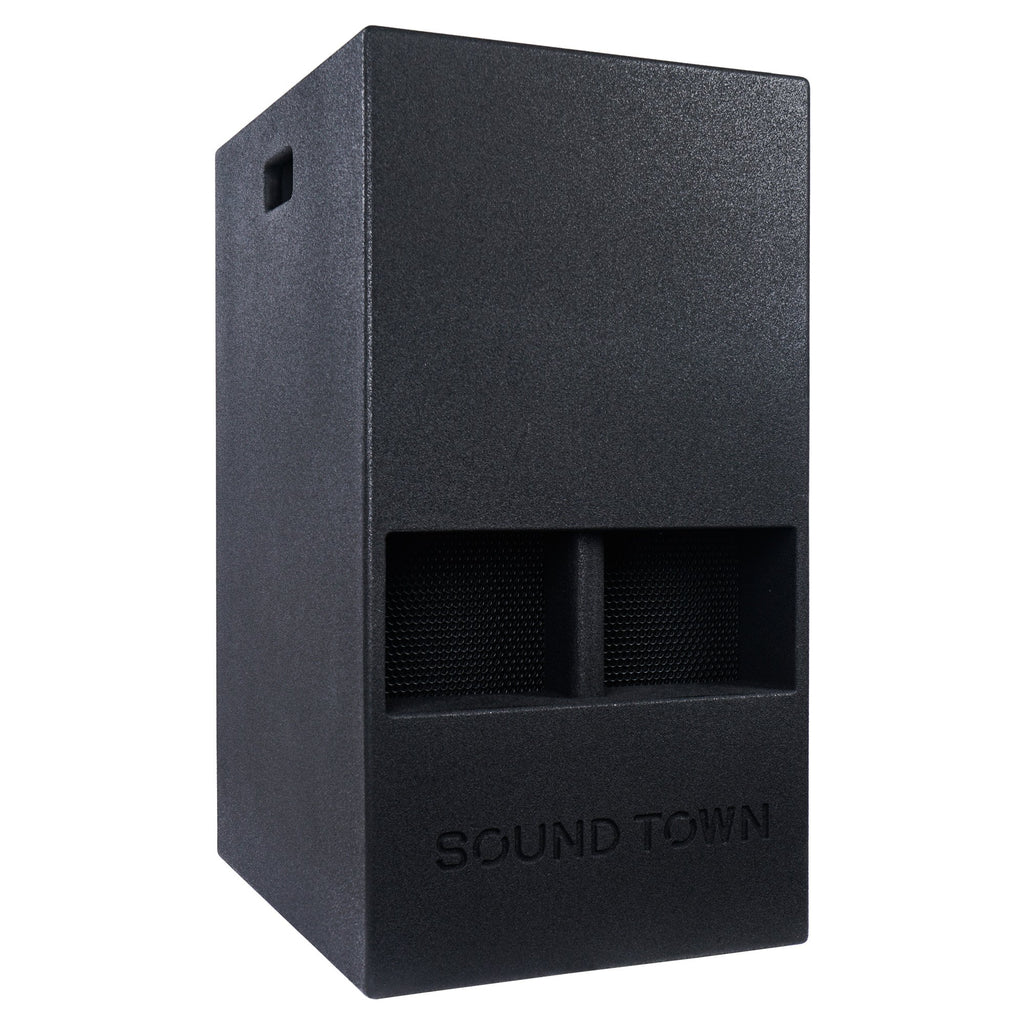 "Sound Town KALE-112BCE 15"" 1000W Powered PA/DJ Subwoofer with Folded Horn Design, Class-D Amplifier and Built-in DSP, Black for Live Sound, Stage, Lounge, Club - Right Panel"