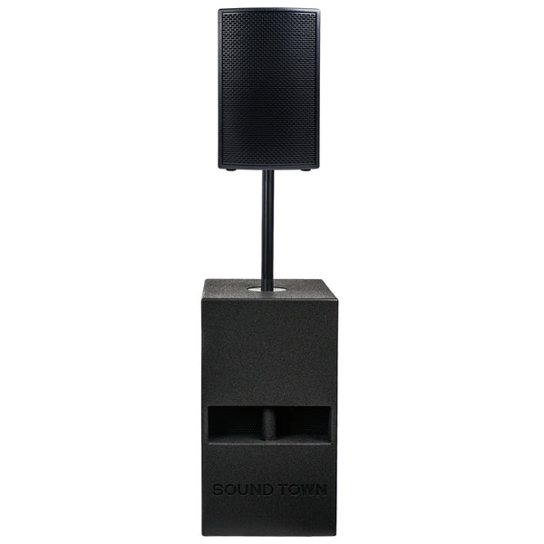 "Sound Town KALE-112BCE Powered 12"" Full-Range Speaker and 15"" Folded Horn Design Subwoofer PA System for Solo Performance, Live Sound, Karaoke, Bar, Church, Black"