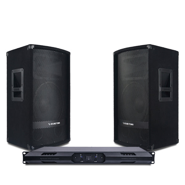 "Sound Town METIS-112UPDM METIS Series Professional PA Speaker System with Two 12"" Passive PA Speakers and One 2-Channel UPDM Power Amplifier for Live Sound, Karaoke, Bar, Church"