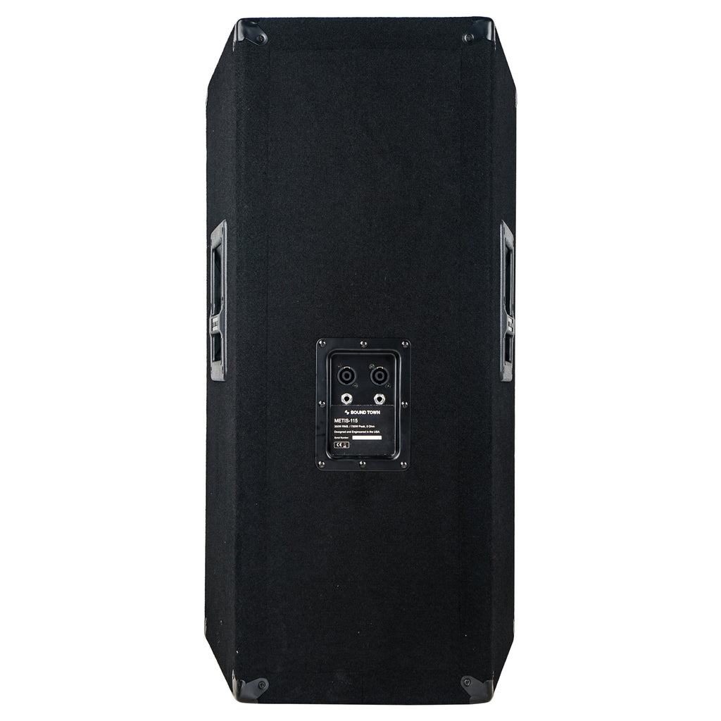 "Sound Town METIS-115UPDM METIS Series 15"" 700W 2-Way Full-range Passive DJ PA Pro Audio Speaker with Compression Driver for Live Sound, Karaoke, Bar, Church - Back Panel"