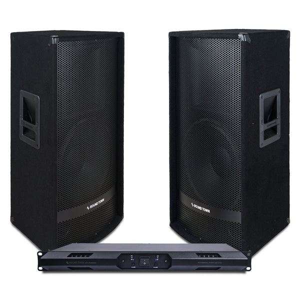 "Sound Town METIS-115UPDM Professional PA Speaker System with Two 15"" Passive PA Speakers and One 2-Channel UPDM Power Amplifier for Live Sound, Karaoke, Bar, Church"