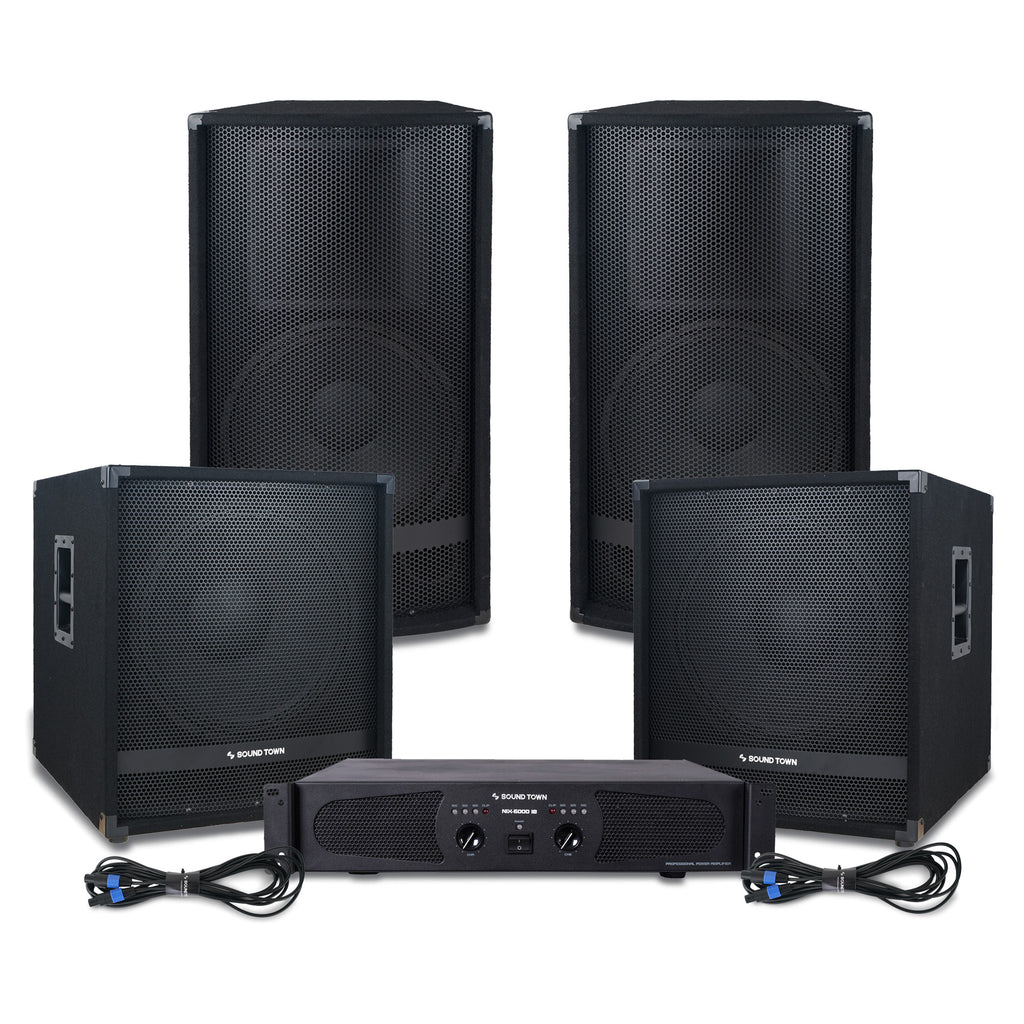Sound Town METIS-1518SPW-NIXS1 Professional PA System with 15-inch Full Range PA Speakers, 18-inch Subwoofers, Dual-Channel Amplifier and Audio Cables